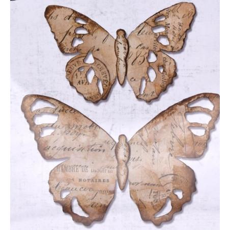 Fustella sizzix bigz farfalle tim holz effetto invecchiato