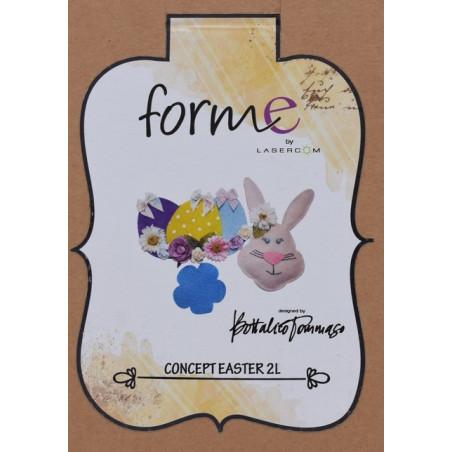Fustella artigianale coniglietto, uovo e fiore