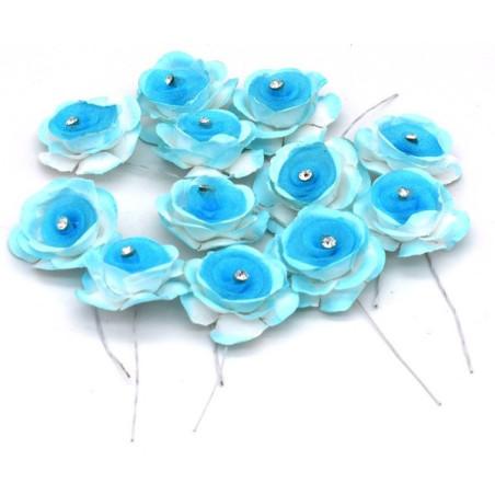 Fiore decorativo azzurro con perlina