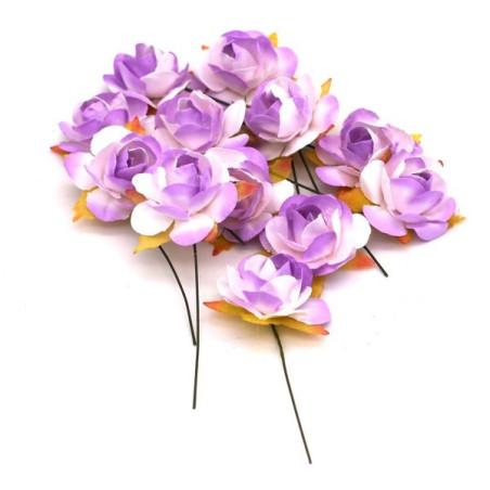 12 fiori artificiali colore lilla e bianco