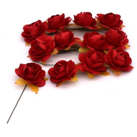 Fiori decorativi con bastocino di ferro colore rosso