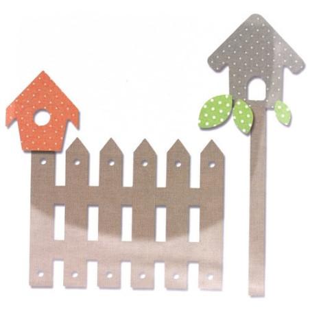 Fustella bigz sizzix L recinzione, casetta uccellini e foglie