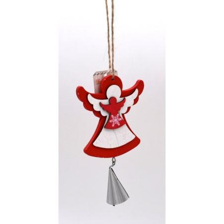 Angioletto in legno con campana colore rosso
