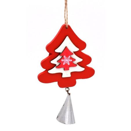 Albero natalizio in legno colore rosso e bianco