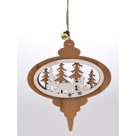 Decorazione natalizia in legno color legno e bianco