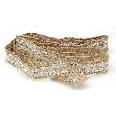 stoffa di lino con pizzo altezza 2,5 cm
