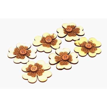 Decorazione legno color naturale a forma di fiore