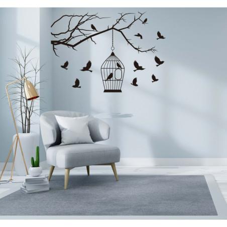Adesivo murale albero con uccellini