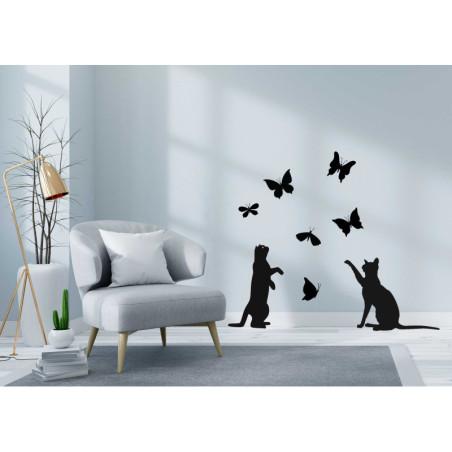 Adesivi murali gatti e farfalle
