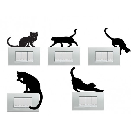 Adesivi murali per prese elettriche gatti