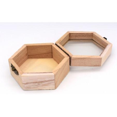 Scatola legno con coperchio di vetro trasparente 10,2 x 9 x 5,5 cm