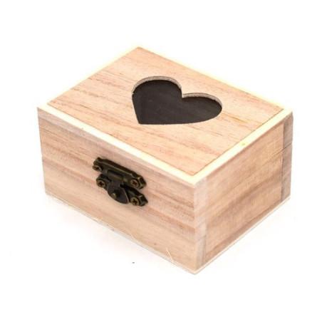 Scatola legno bauletto con cuoricino e vetro