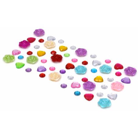 Strass adesivi  forma di cuore, fiori e tondi