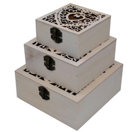 Set di 3 scatole in legno naturale, ideale per fare decoupage