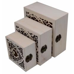 Set di 3 scatole in legno...