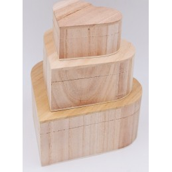 Set di 3 scatole in legno