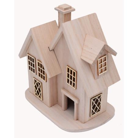 Casetta in legno naturale da decorare con decouage