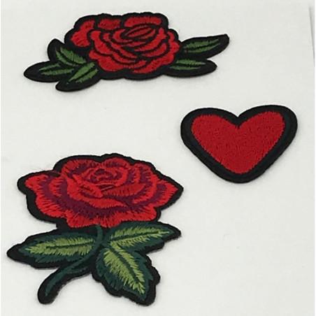 Toppa termoadesiva a forma di cuore e rosa