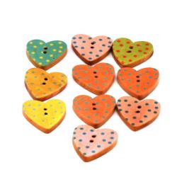 Bottoni colorati in legno a forma di cuore