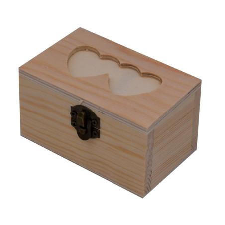 Scatola in legno rettangolare con cuori
