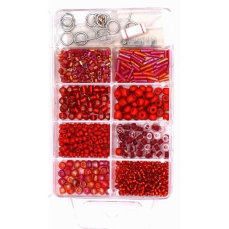 Scatola di mini perline colore rosso per collane braccialetti