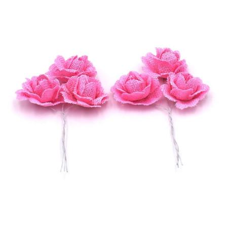 Fiore in tessuto colore rosa per bomboniere