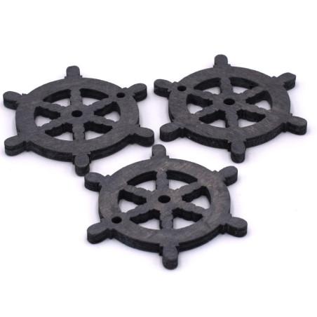 Timone in legno per le decorazioni colore grigio