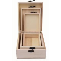 Tris scatole legno per...
