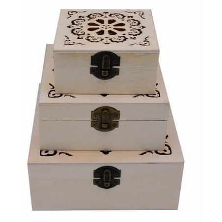 Scatolette in legno set da tre pezzi