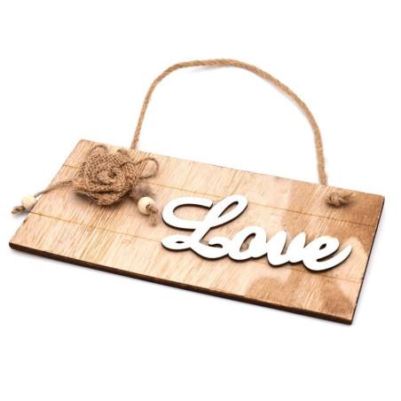 Targhetta shabby scritta love color legno naturale