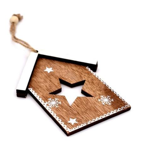 Decorazione natalizia color legno naturale con cordoncino