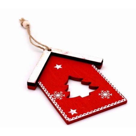 Decorazione natalizia casetta di legno colore rosso