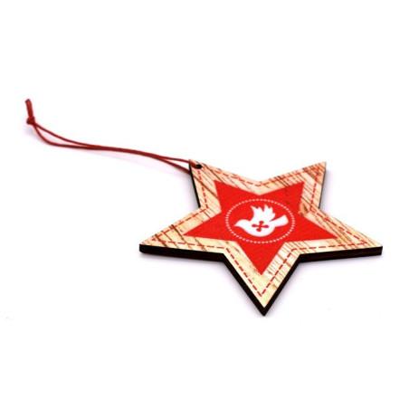 Decorazione natalizia stella in legno colore rosso