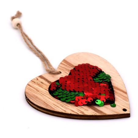 Decorazione natalizia cuore in legno con strass