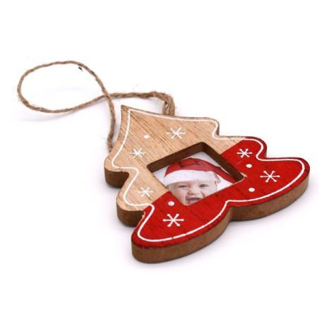 Portofoto natalizio colore rosso e color legno