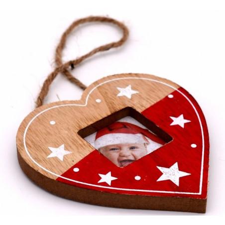 Portafoto natalizio a forma di cuore colore rosso e color legno