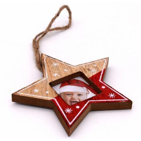 Porta foto natalizio a forma di stella colore rosso e colore legno