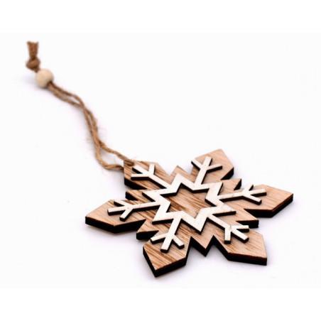 Decorazione natalizia in legno fiocco di neve