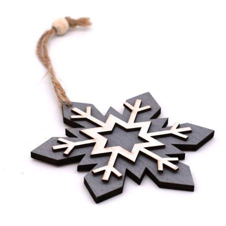 Decorazione natalizia fiocco di neve sfondo grigio