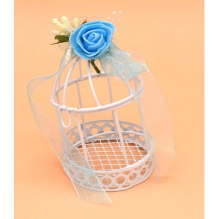 Portaconfetti gabbietta in ferro con fiori azzurri